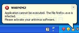 Fake infected file alert