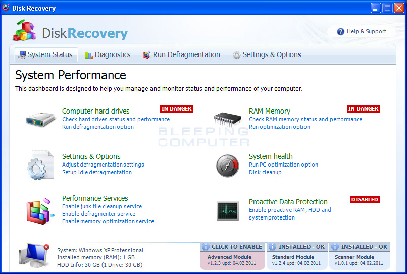 Disk Recovery screen shot