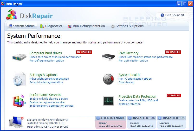 Disk Repair screen shot