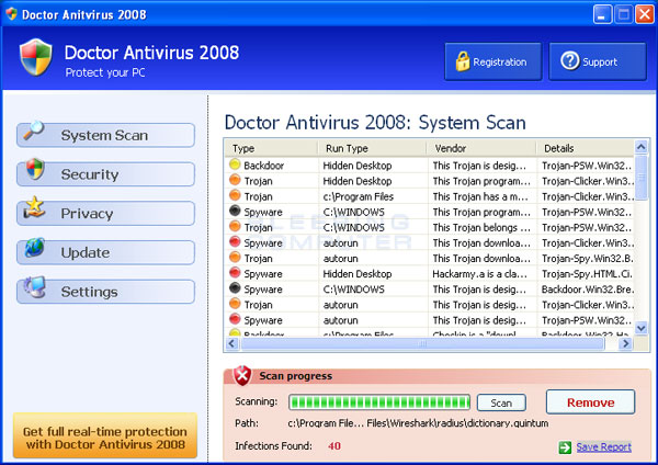 Doctor Antivirus scan results