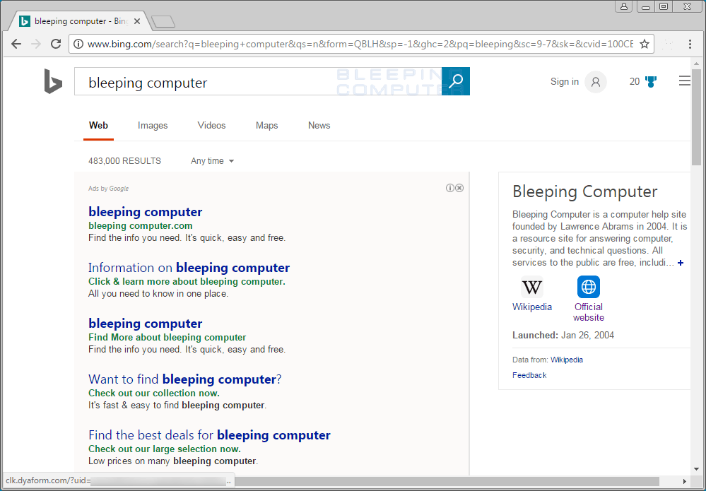 Dyaform.com Ads in Bing Search Results