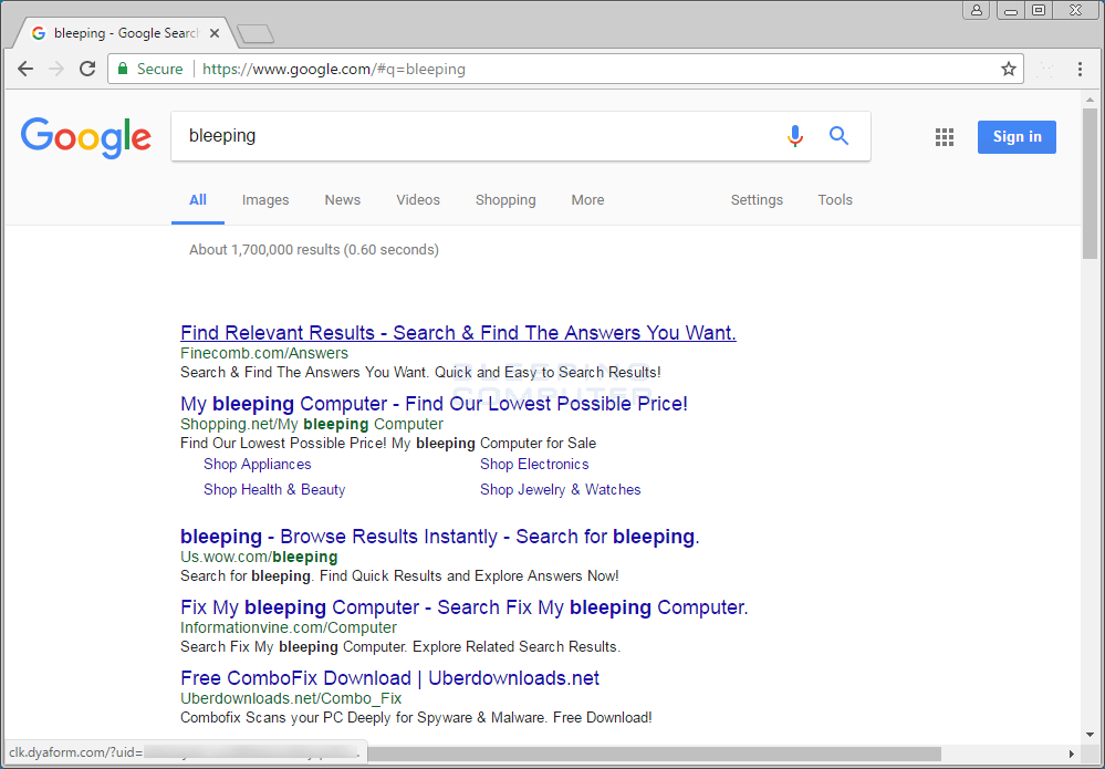 Dyaform.com Ads in Google Search Results
