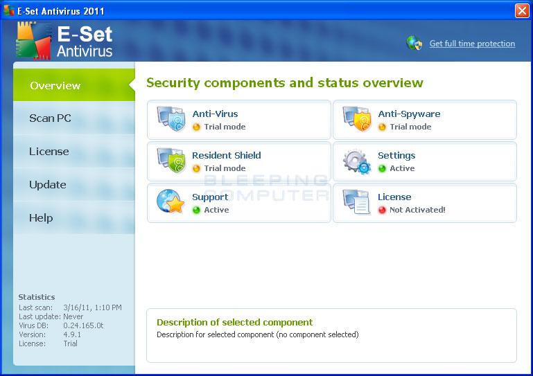 E-Set Antivirus 2011 screen shot