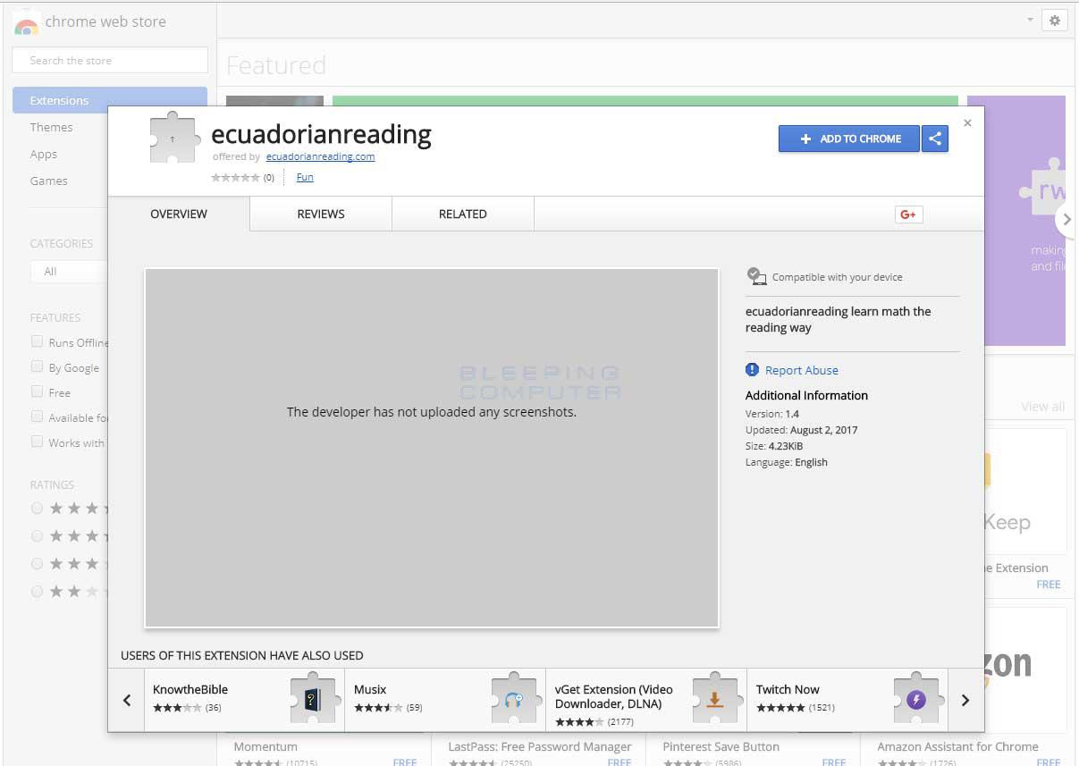 Chrome Web Store Listing