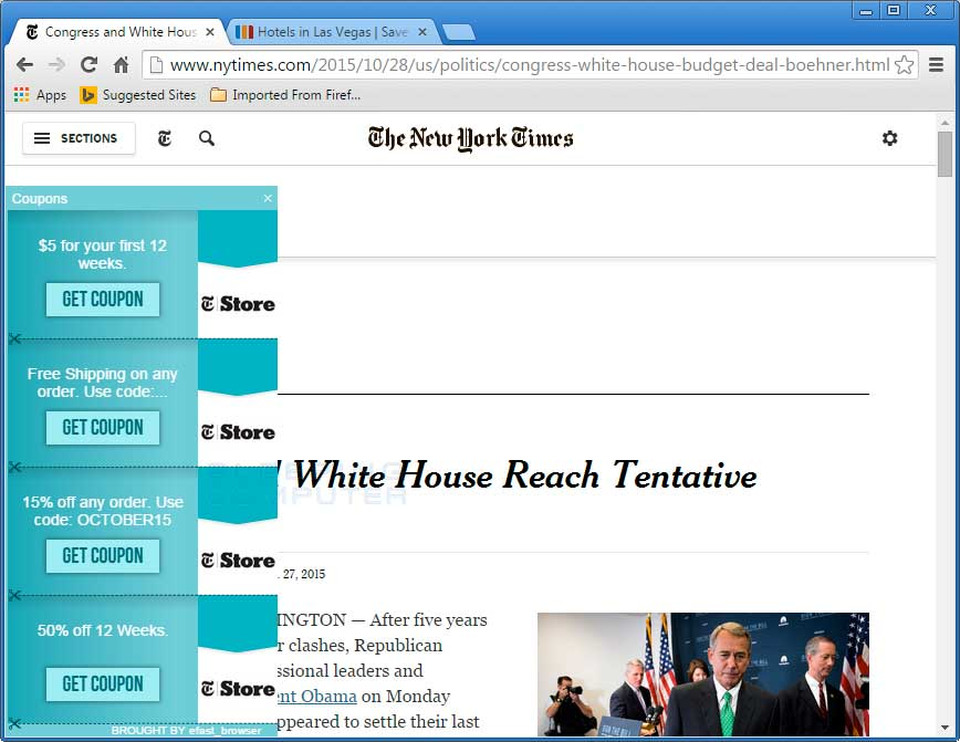 eFast Browser ads on the NY Times web site