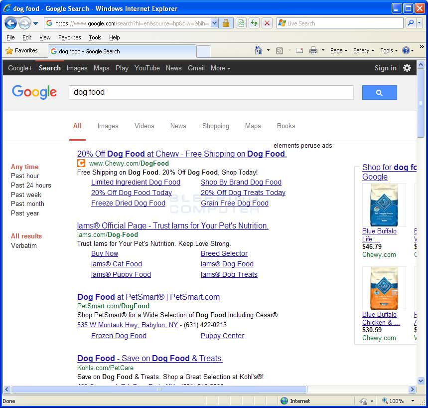 Elements Peruse Ads in Google