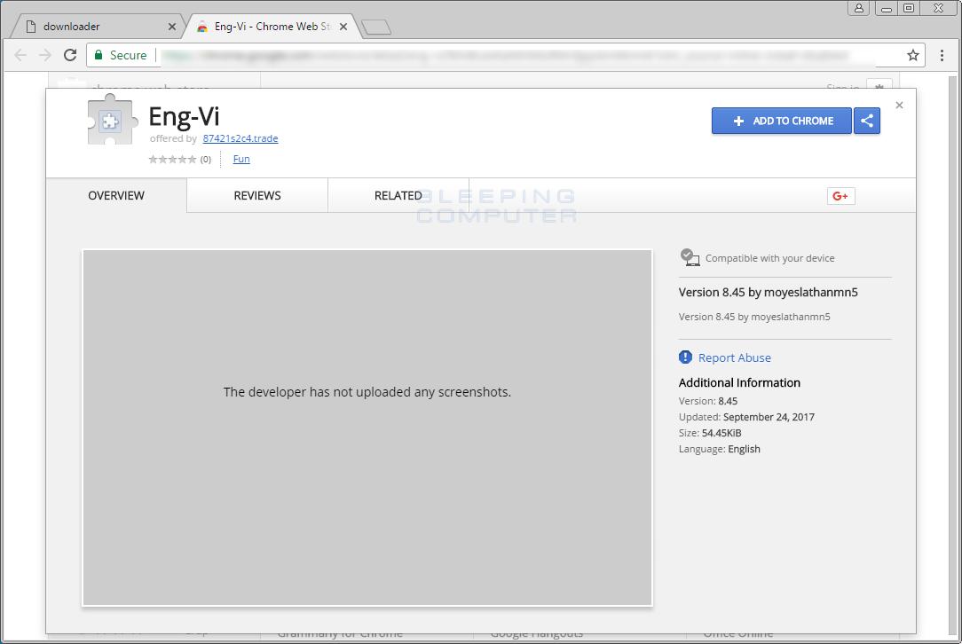 Eng-Vi Chrome Web Store Page