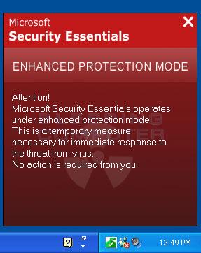 Fake Microsoft Security Essentials Enhanced Protection Mode