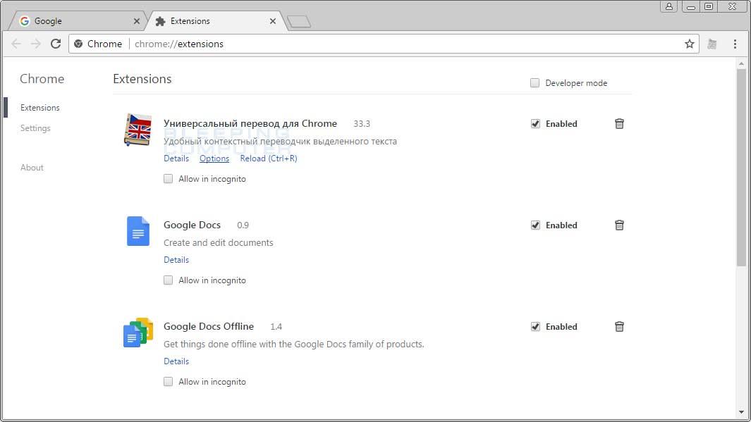 Универсальный перевод для Chrome 33.3