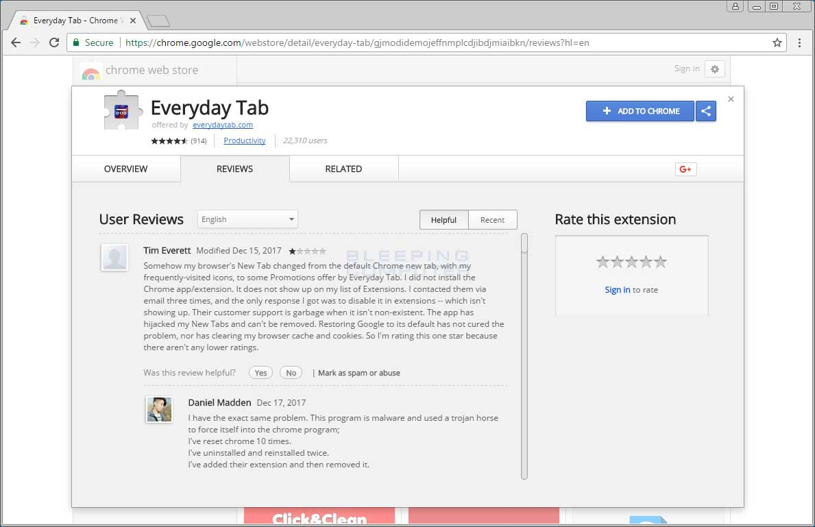 Chrome Web Store Reviews Page