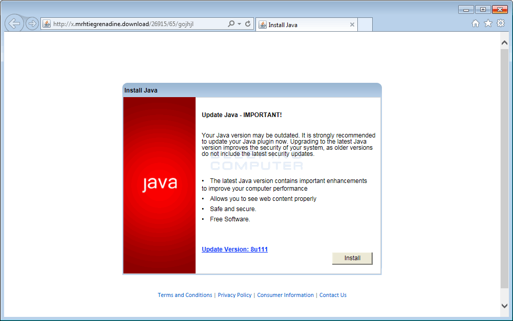 Fake Java Update PopUp