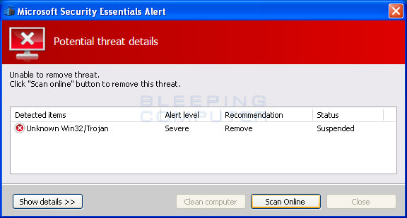 Unable to remove threat