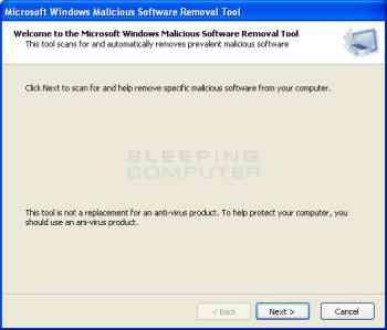 Fake Microsoft Windows Malicious Software Removal Tool Image