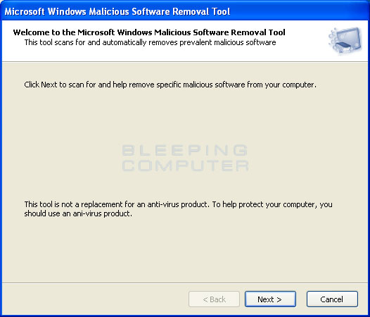 Fake Microsoft Windows Malicious Software Removal Tool