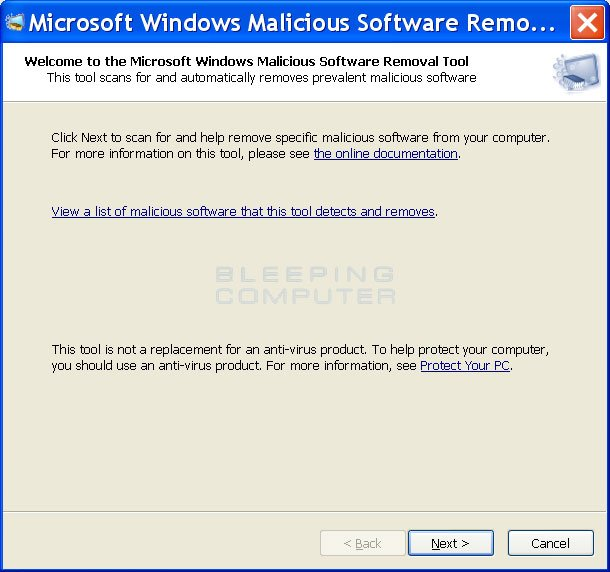 Real Microsoft Windows Malicious Software Removal Tool
