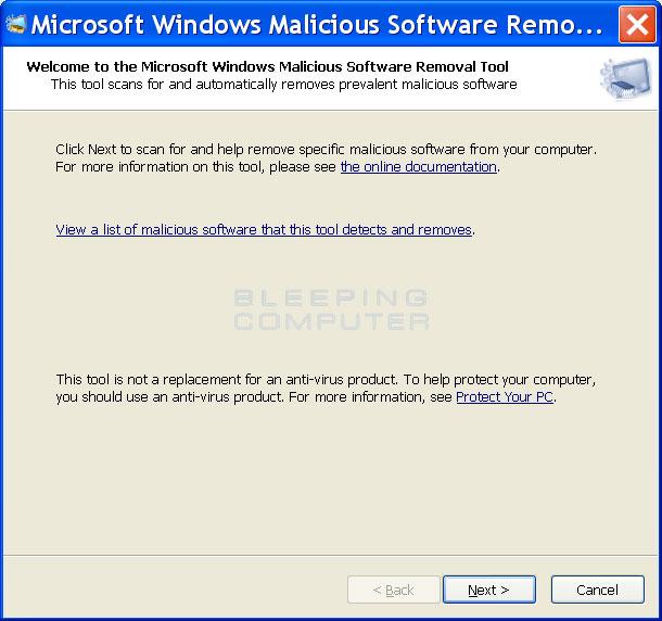Real Microsoft Windows Malicious Software Removal Tool