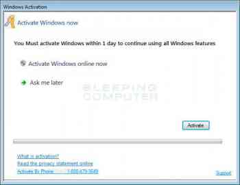 1-888-479-3649 Fake Windows Activation Screen Screenshot