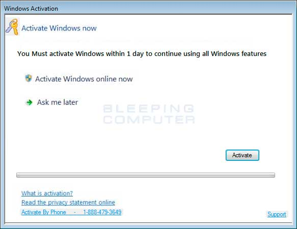 1-888-479-3649 Fake Windows Activation Screen