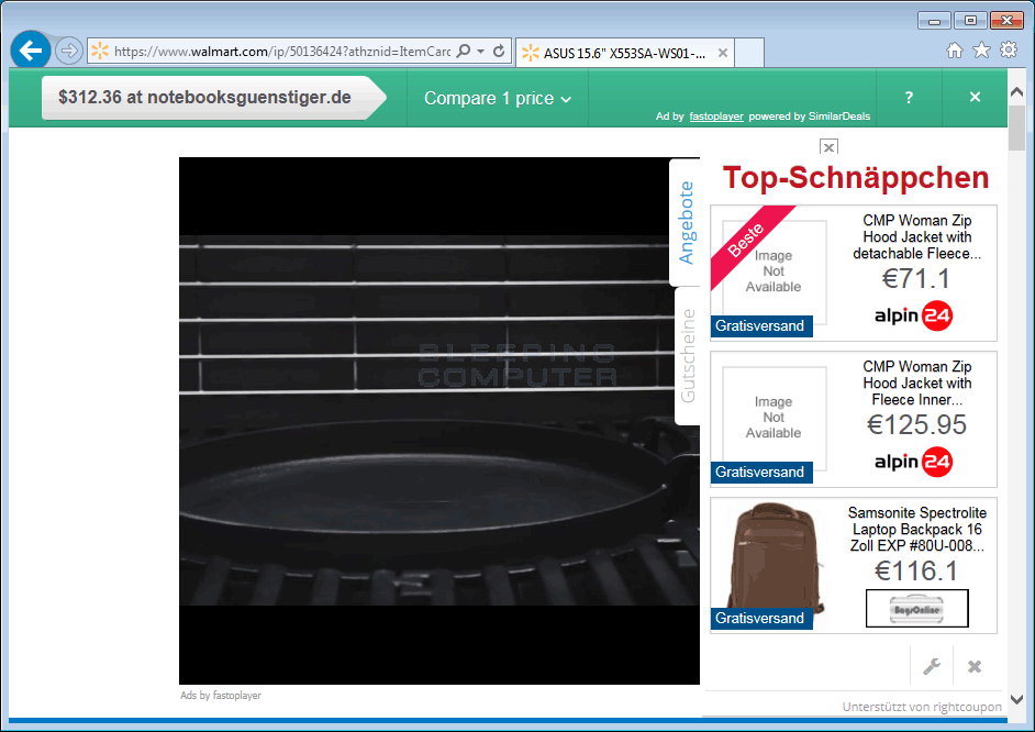 Fastoplayer Advertisements on Walmart.com