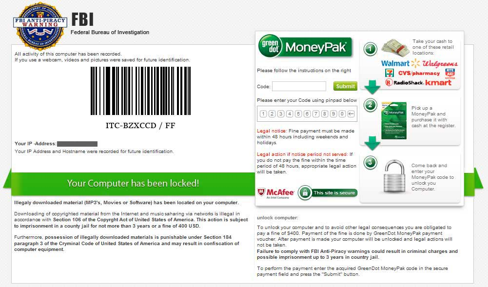 FBI Anti-Piracy MoneyPak Ransomware screen shot