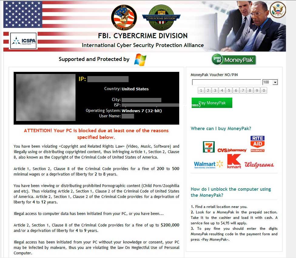 FBI Cybercrime Division Ransomware Reveton Version