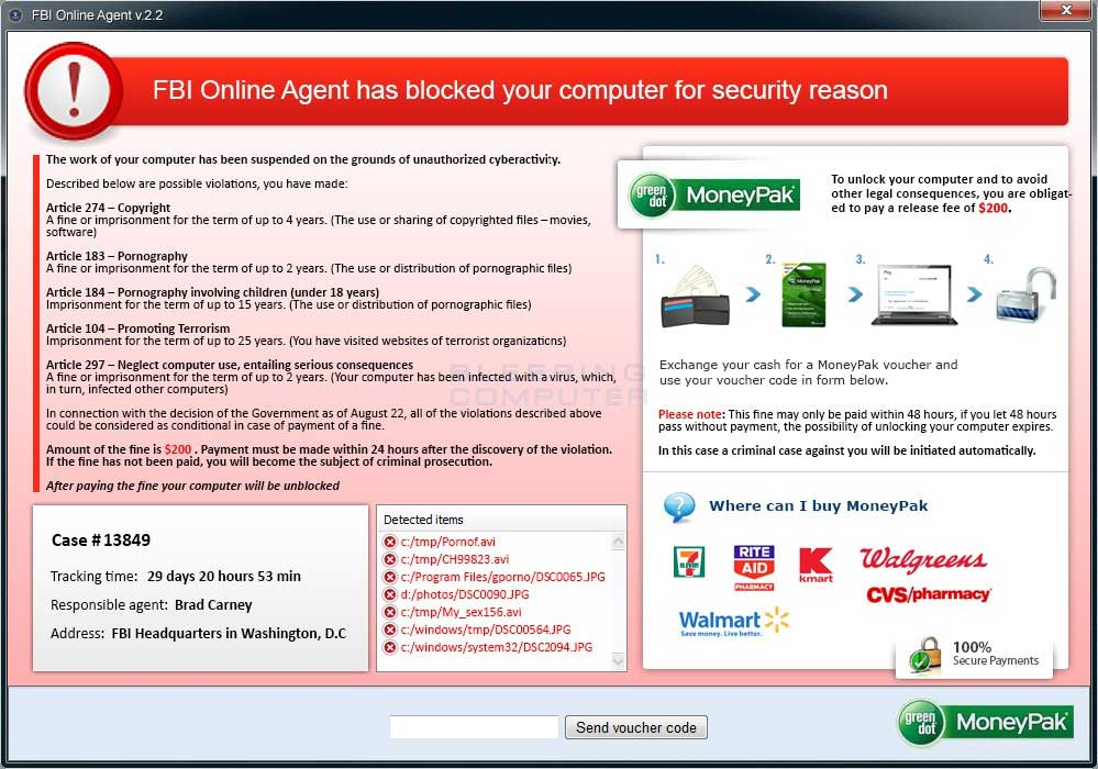 FBI Online Agent v.2.2 screen shot