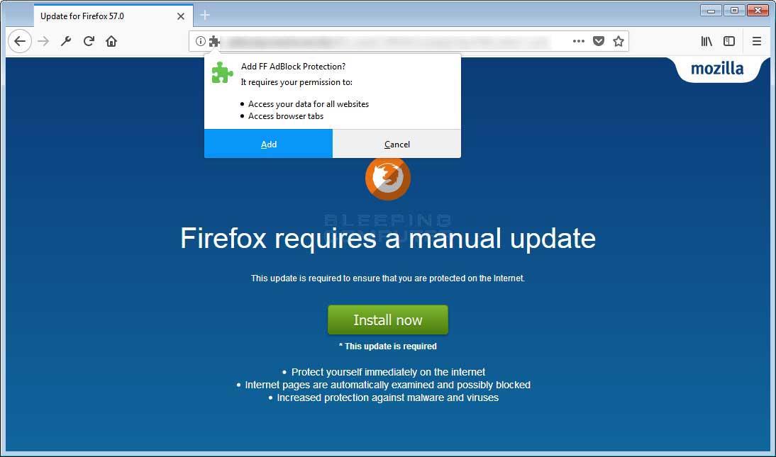 remove the ff adblock protection adware miner firefox addon