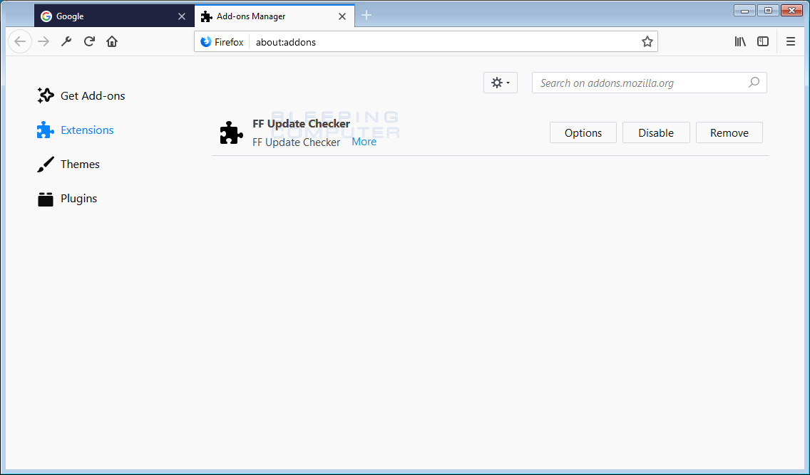 FF Update Checker Adware Firefox Addon