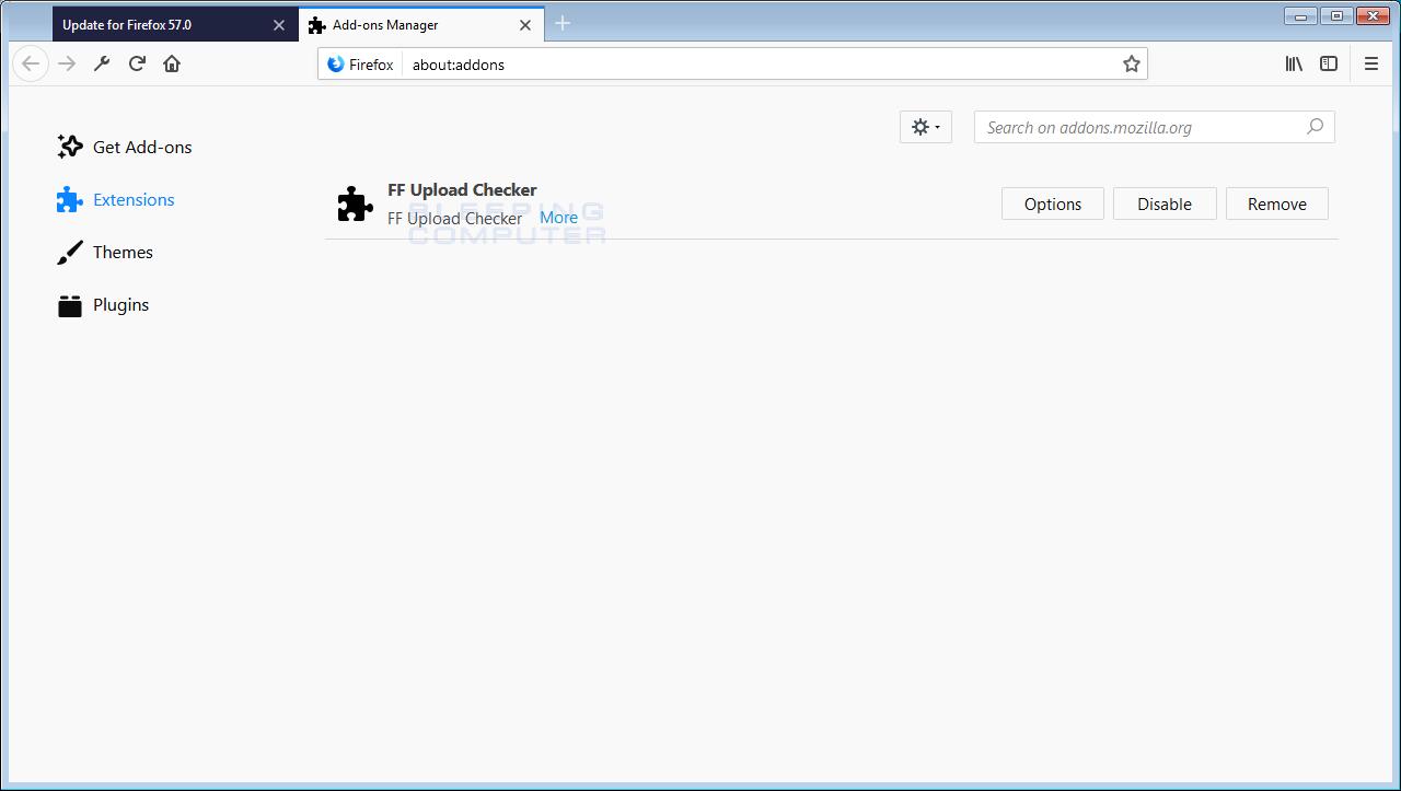 FF Upload Checker Adware Firefox Addon