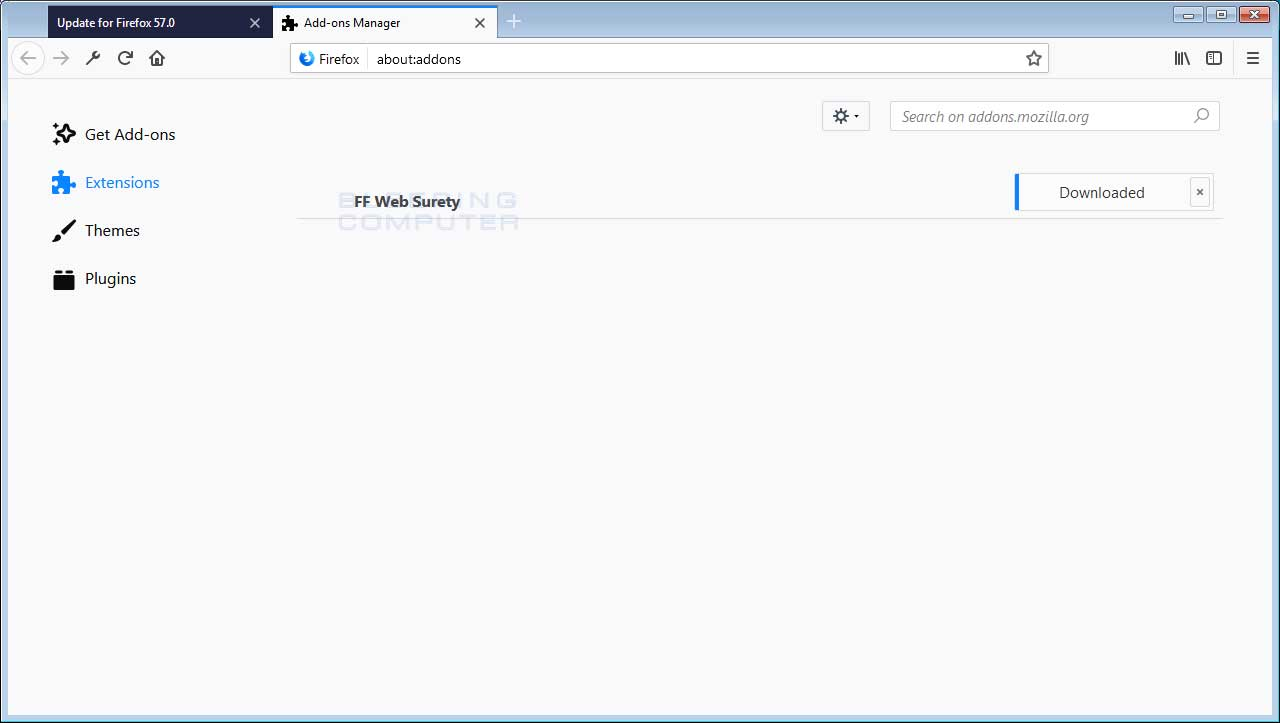 FF Web Surety Adware & Miner Firefox Addon