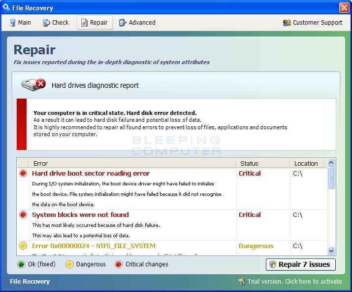 Repair Screen