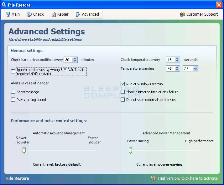Advanced Settings screen