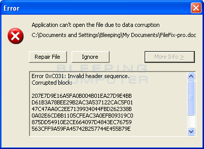 Error when opening a corrupted document