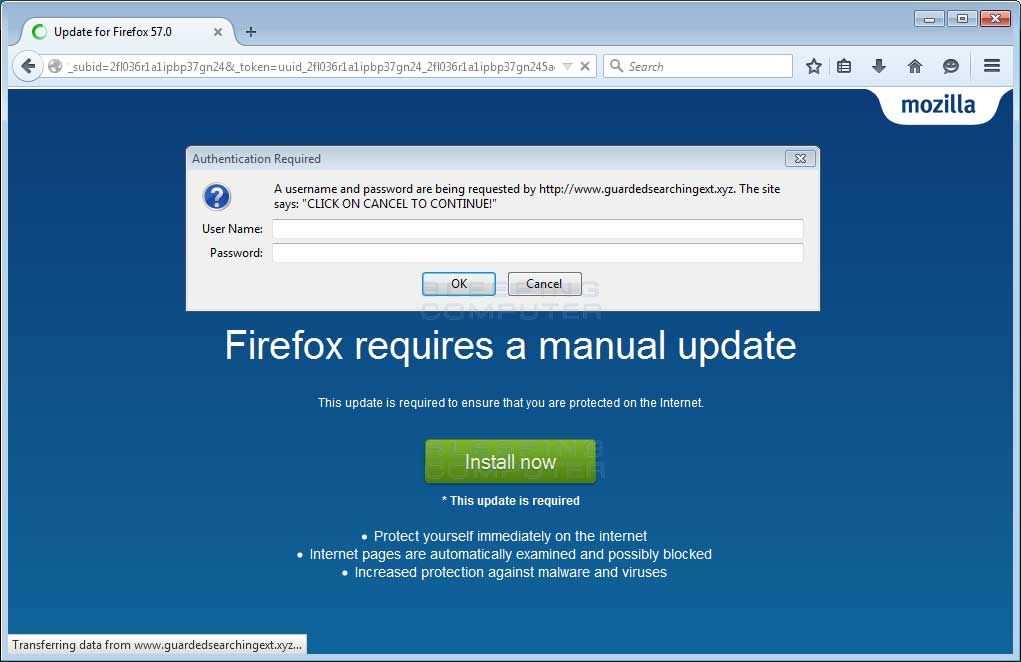 Firefox requires a manual update Scam Alert