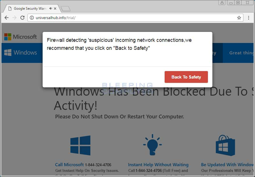 Firewall Detected Suspicious Network Connections Tech Support Scam