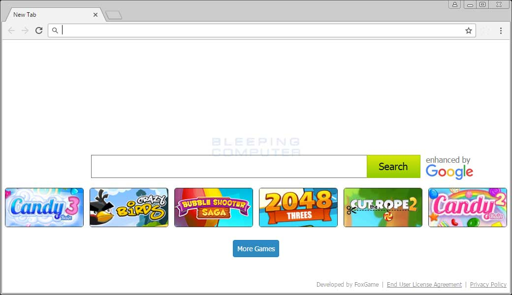 FoxGame Chrome New Tab Page
