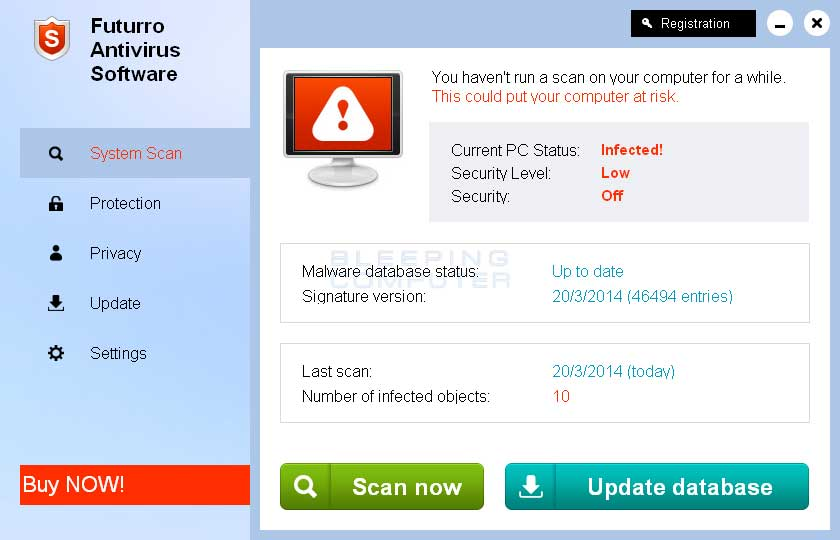 Futurro Antivirus Software screen shot