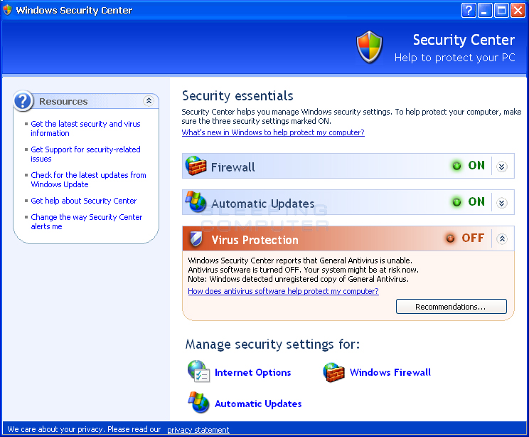 Fake Windows Security Center advertising General Antivirus