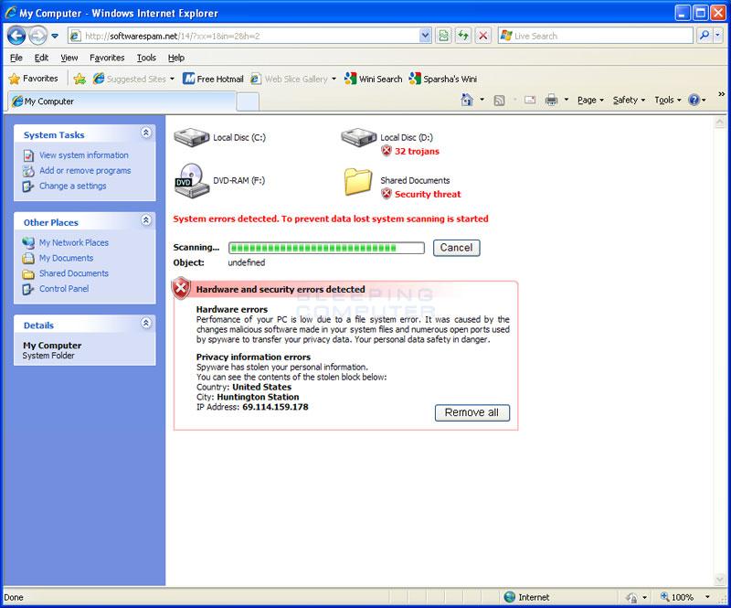 Sahte online anti-malware tarayıcı