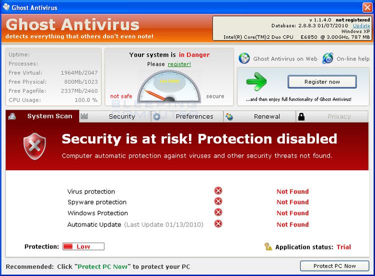 Ghost Antivirus ekran görüntüsü