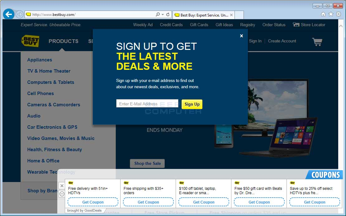 GoodDeals ads on BestBuy