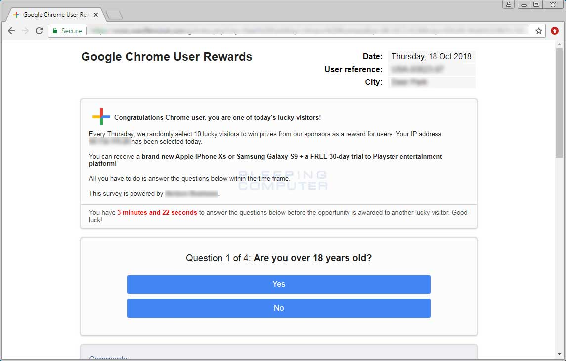 Remove the Google Chrome User Rewards Scam