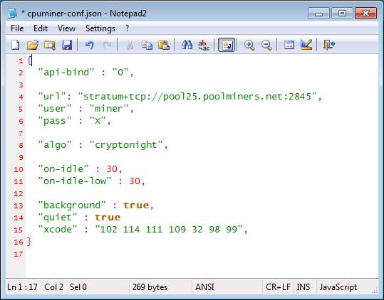 CPUMiner Configuration File