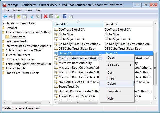 Delete Hades CA certificate