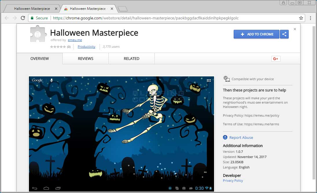 Halloween Masterpiece Chrome Web Store Page