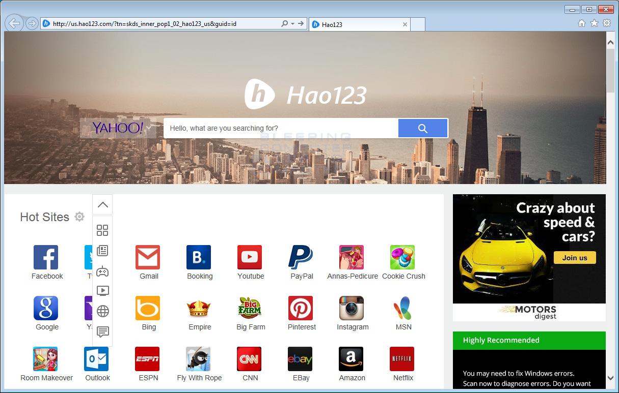 Us.hao123.com Browser Hijacker