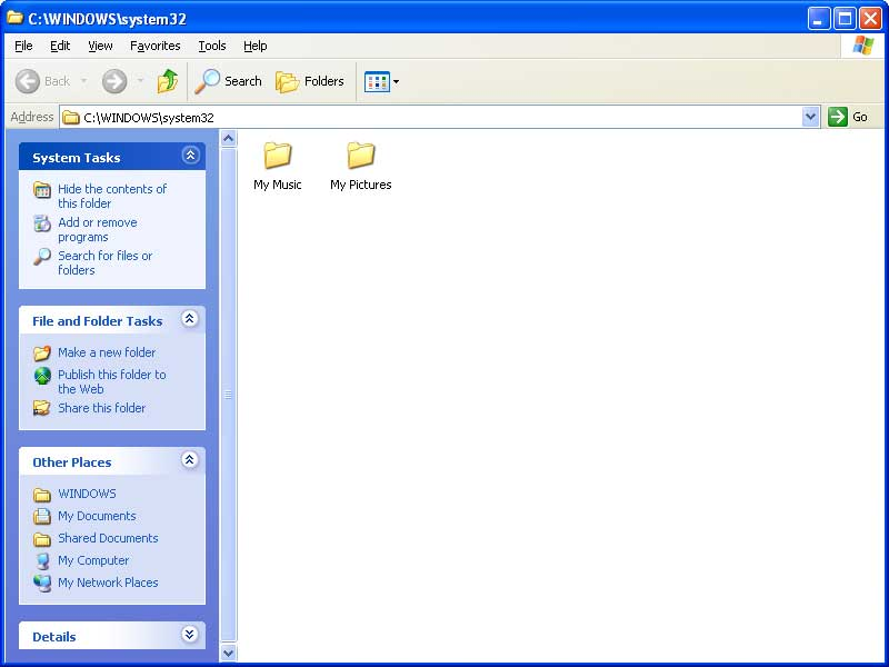Empty C:\Windows\System32 folder