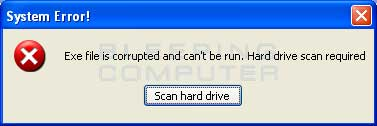 Alert stating the file is corrupted