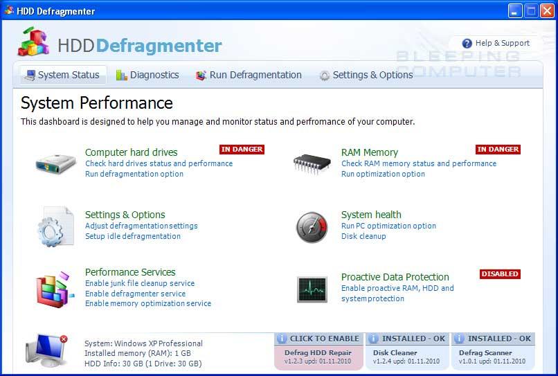 HDD Defragmenter screen shot